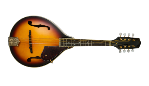 Photo of pear-shaped A-style mandolin with sunburst colored finish.