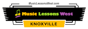 Web header for Music Lessons West dotcom featuring logo with colorful text